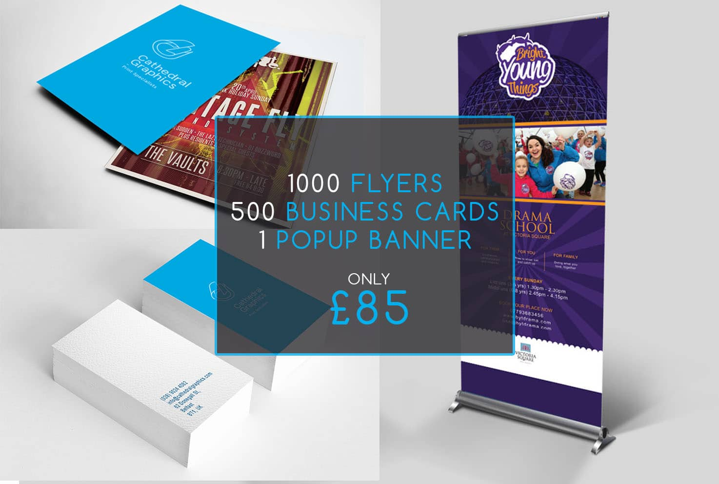 Business Starter Pack, Printed Flyers, Banners, business cards
